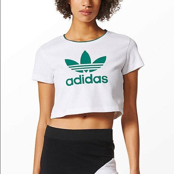💄2/40💄EQT White Mesh Adidas Crop Top Graphic T